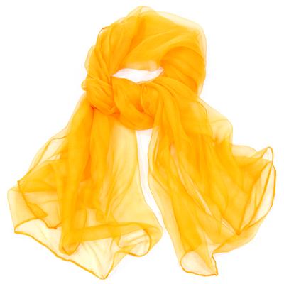 Foulard écharpe mousseline de soie orange doux