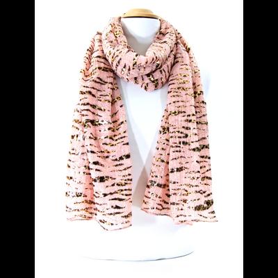 Chèche foulard rose imprimé mordoré