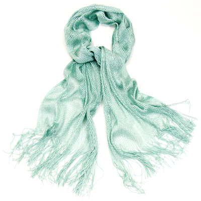 Echarpe foulard vert eau maille résille et lurex