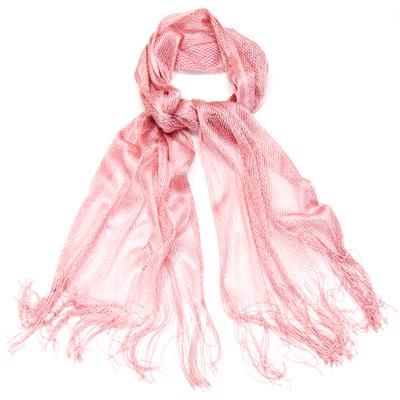 Echarpe foulard rose maille résille et lurex