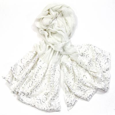 Foulard chèche blanc grisé dentelle et paillettes