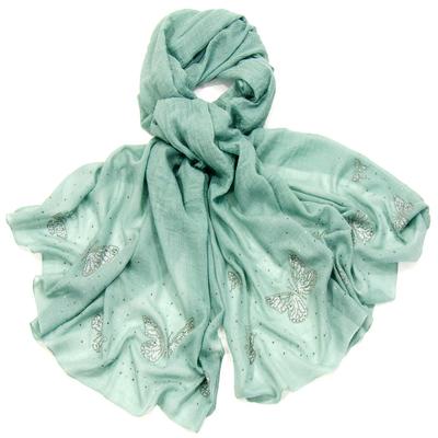 Foulard chèche vert papillons strass