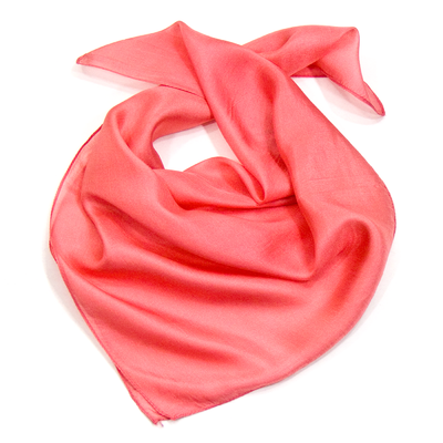 Foulard en soie rose carré mini 53 x53 cm Palme