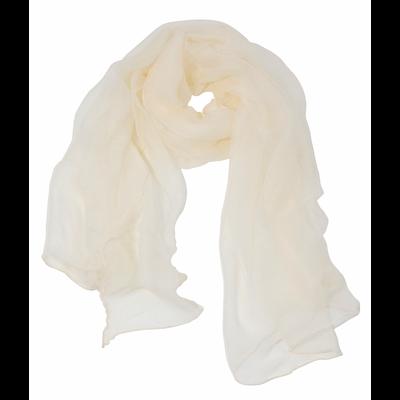 Foulard écharpe en mousseline de soie écru