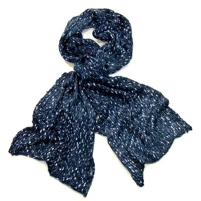 Echarpe bleu chiné maille tricot