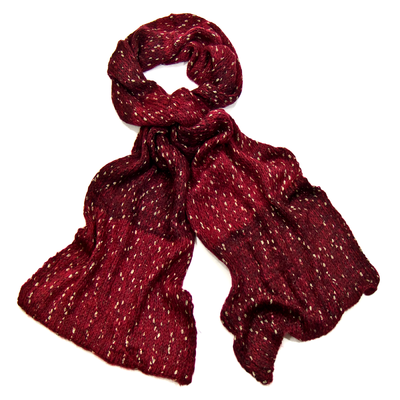 Echarpe rouge chiné maille tricot