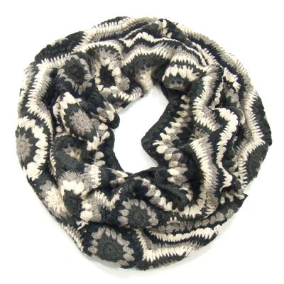 Snood écharpe tube gris maille crochet Palme