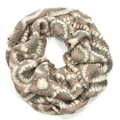 Snood écharpe tube beige maille crochet Palme