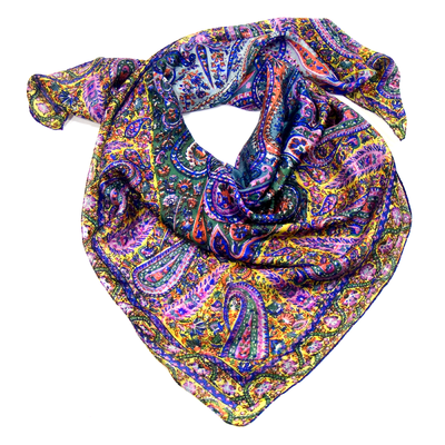 Foulard en soie imprimé violet Palme 100 x 100 cm