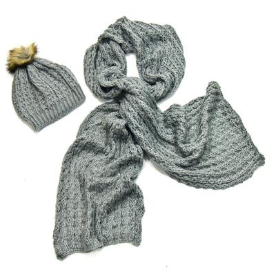Echarpe et bonnet maille gris