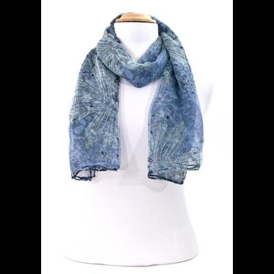 Foulard mousseline de soie bleu fleurs mina