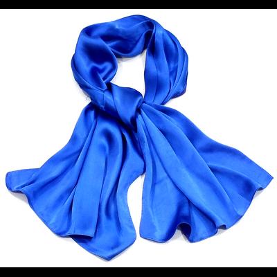 Echarpe en satin pur soie bleu