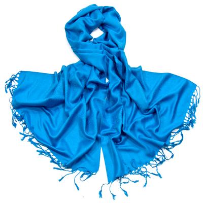 Etole bleu turquoise pashmina tissage damassé