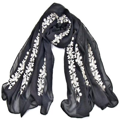 Foulard chèche gris anthracite bandes brodées