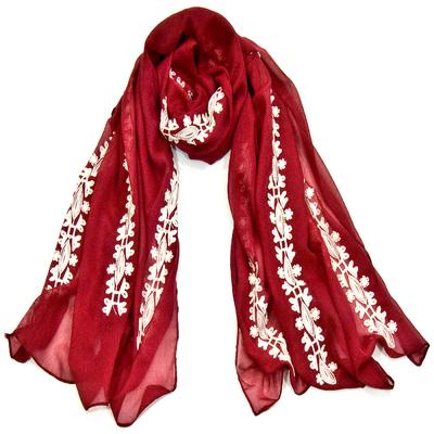 Foulard chèche rouge bandes brodées