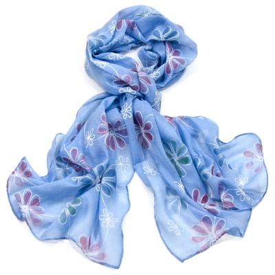 Foulard bleu boho fleurs brodées