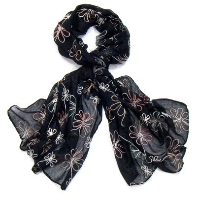 Foulard noir boho fleurs brodées