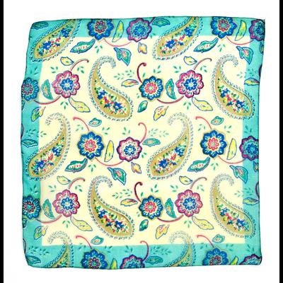 Foulard carré de soie vert bengali Palme 50 x 50 cm
