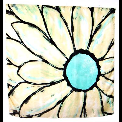 Foulard en soie carré vert grande fleur Palme 100 x 100 cm