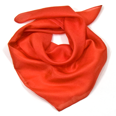 Foulard carré de soie orange mini 53 x53 cm Palme