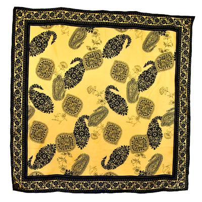 Foulard en soie carré or noir oriat 85 x 85 cm