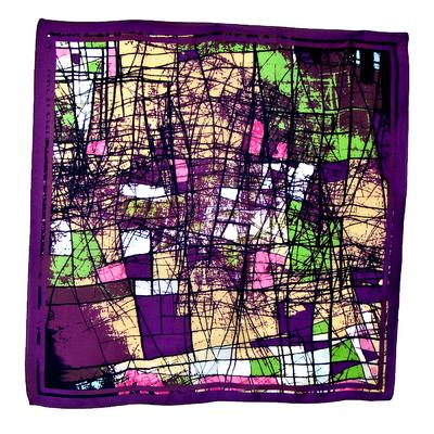 Foulard en soie carré violet graphing 85 x 85 cm