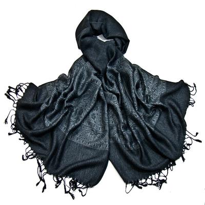 Etole pashmina noir gris damassé