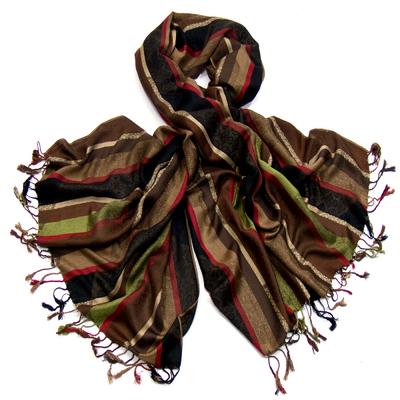 Etole pashmina chocolat motifs tissés Kara