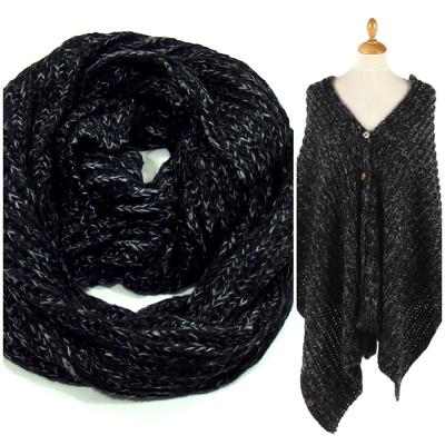 Snood poncho noir chiné grosses mailles tricot
