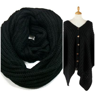 Snood poncho noir grosses mailles tricot