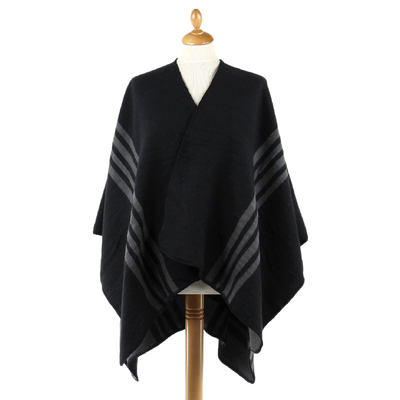 Poncho noir rayures gris anthracite