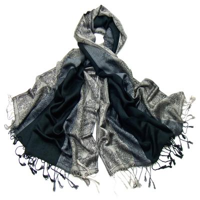 Etole pashmina noir rayures motifs cachemire
