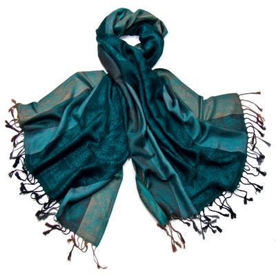 Etole pashmina vert émeraude rayures motifs cachemire
