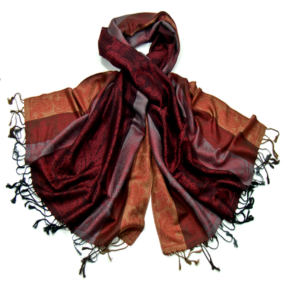 Etole pashmina bordeaux rayures motifs cachemire