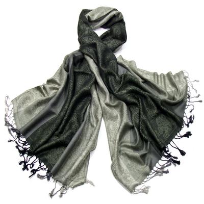 Etole pashmina vert rayures motifs cachemire