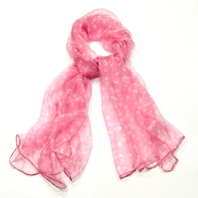 Foulard en mousseline de soie rose pois blancs