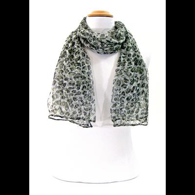 Foulard mousseline de soie léopard kaki