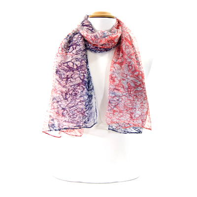 Foulard en mousseline de soie orange volutes