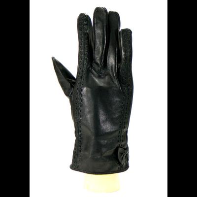 Gants cuir noir femme noeud et surpiqures  taille 7