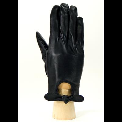Gants cuir noir femme découpe goutte d'eau taille 7.5