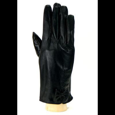 Gants cuir femme noir petit noeud taille 8