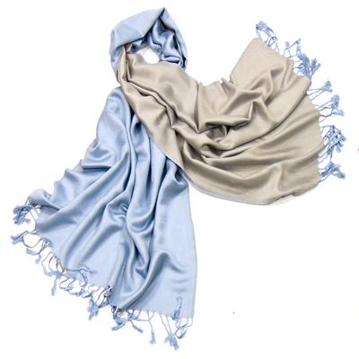 Etole pashmina bleu beige réversible