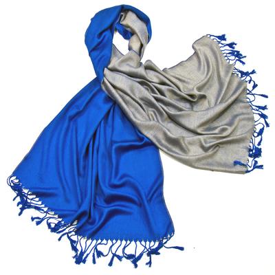 Etole pashmina bleu roi beige réversible
