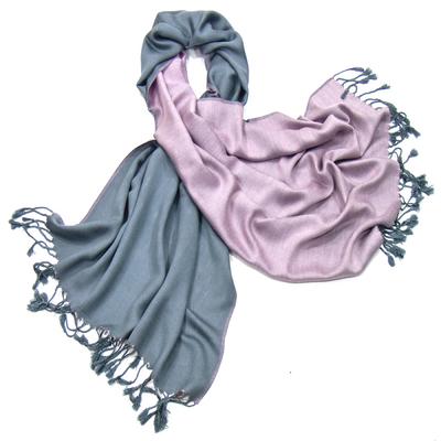 Etole pashmina gris rose réversible