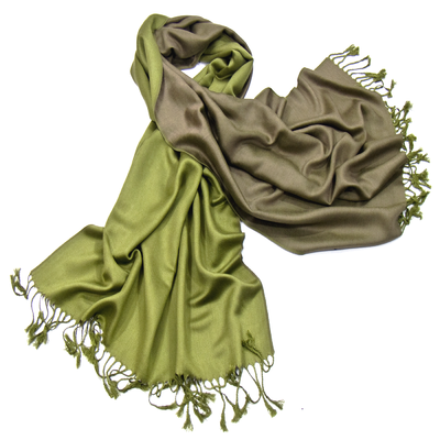 Etole pashmina vert olive kaki réversible