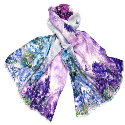 Etole laine imprimé fleurs violet loulou  premium
