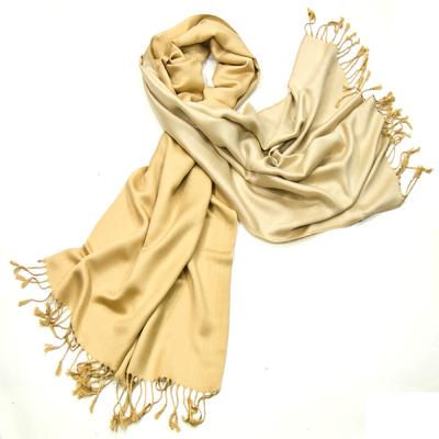 Etole pashmina beige doré écru réversible