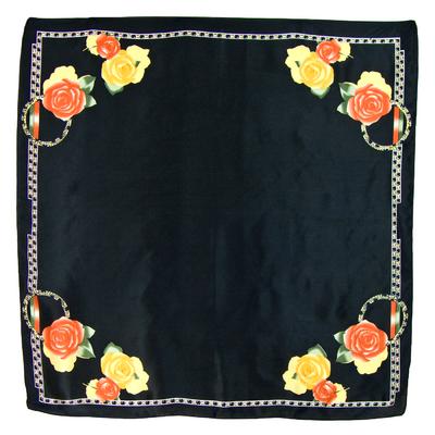 Foulard en soie carré noir roses jaunes 85 x 85 cm