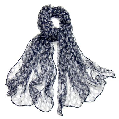 Foulard en mousseline de soie bleu marine lady