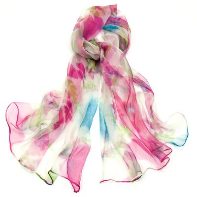 Foulard en mousseline de soie rose flory